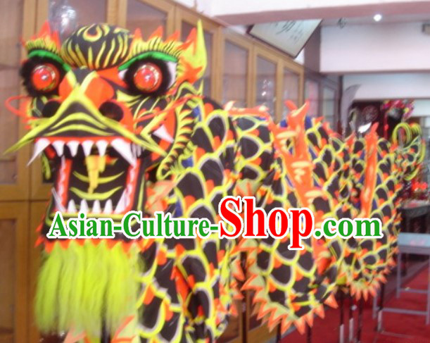 Top Chinese Glow in Dark Luminated Dragon Dance Head and Body Costumes Complete Set
