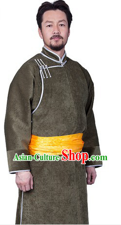 Traditional Chinese Mongolian Winter Long Thick Robe for Men