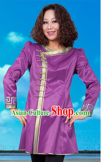 Traditional Chinese Mongolian Purple Blouse for Women