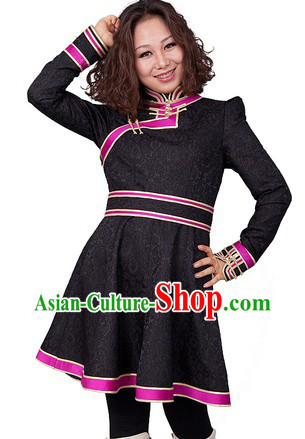 Traditional Chinese Mongolian Black Skirt for Women