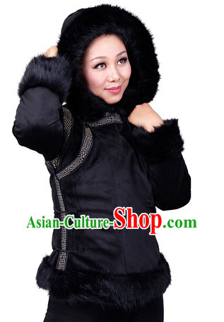 Traditional Chinese Black Mongolian Winter Jacket for Women