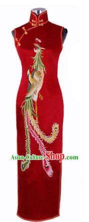 Traditional Chinese Silk Red Phoenix Qipao
