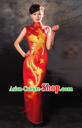 Traditional Chinese Silk Red Embroidered Phoenix Qipao