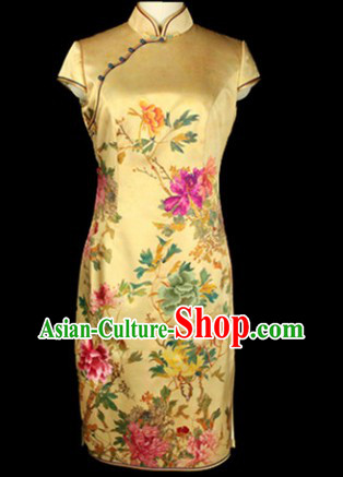 Traditional Chinese Important Ceremony Flower Cheongsam