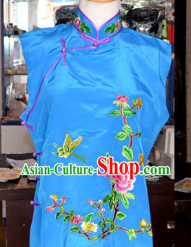 Blue Embroidered Flower Ornamental Waistcoat