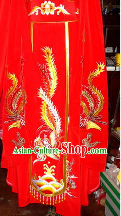 Traditional Chinese Stage Performance Embroidered Phoenix Red Skirt