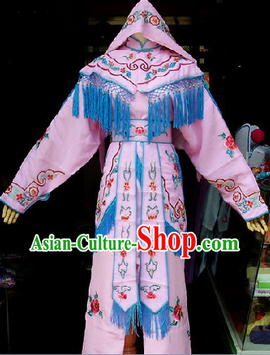 Traditional Chinese Beijing Opera Female Solider Costumes and Headwear