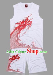 Traditional White Dragon Dance Player Outfit