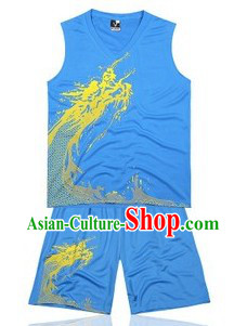 Traditional Blue Dragon Dance Player Dresses