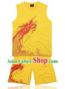 Traditional Yellow Dragon Dance Player Costumes