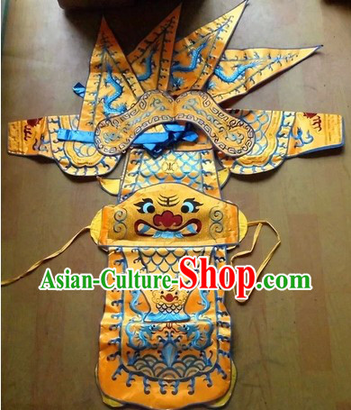 Traditional Chinese Embroidered Dragon Armor Da Kao Costumes Complete Set for Kids