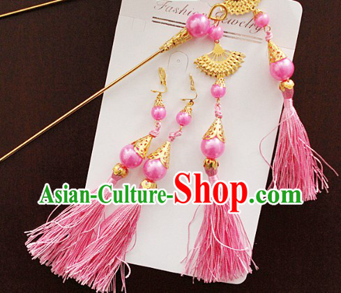 Ancient Chinese Pink Hanfu Style Hairpins and Earrings
