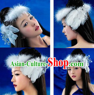 Ancient Chinese Pure White Long Feather Headpieces