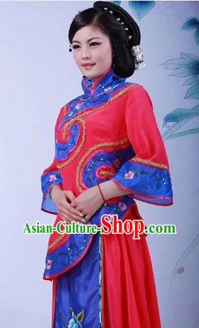 Traditional Chinese High Collar Yangge Dance Costume for Women