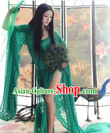 Traditional Chinese Green Tang Dynasty Lady Dress for Women
