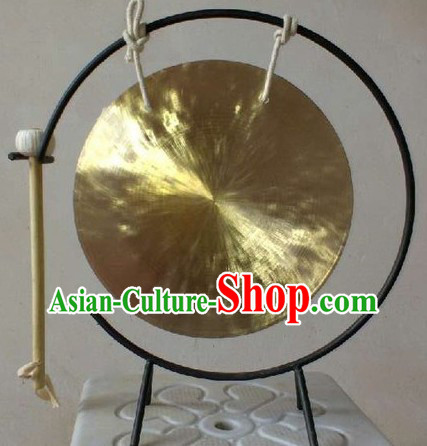 Traditional Chinese Gold Brass Gong and Stand Set