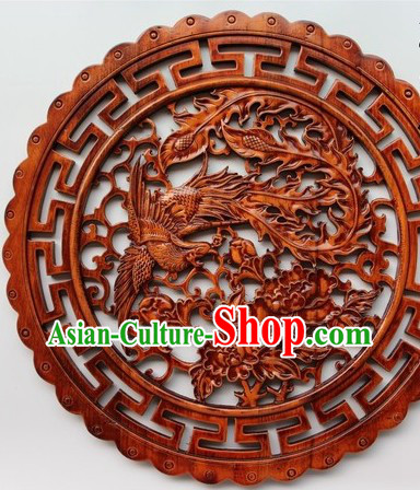 Traditional Chinese Hand Carved Round Phoenix and Peony Plaque