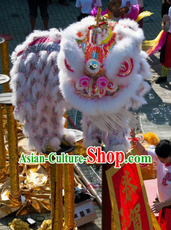 Friendly White Wool Lion Dance Costume Complete Set and the Silk Scroll Gift