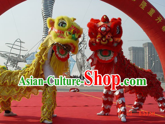 Imitation Artificial Fur Lion Dance Costume 2 Complete Sets