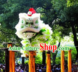 White and Light Green Long Wool Lion Dance Show Costume Complete Set