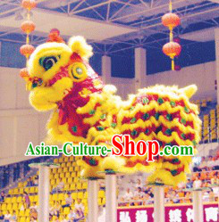 Yellow Red Classic Lion Dance Costume Complete Set