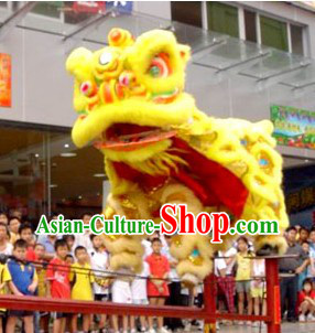 Top Yellow Lion Dancing Costume Complete Set for Display and Play