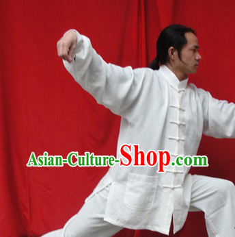Classic Pure White Natural Flax Mandarin Chinese Martial Arts Outfit