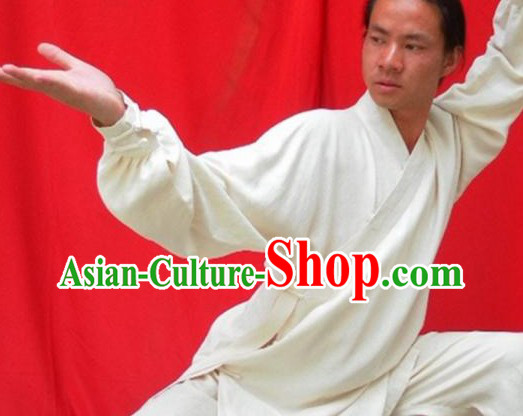Top Quality White Natural Flax Mandarin Chinese Martial Arts Suit