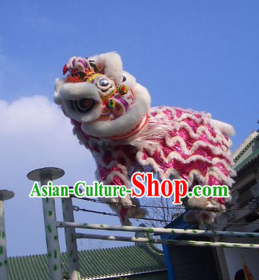 Cute Pink Handmade Lion Dance Costumes Complete Set