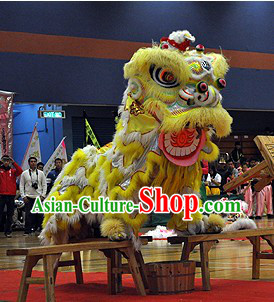 Yellow and White Long Wool Lion Dance Head and Costume Complete Set