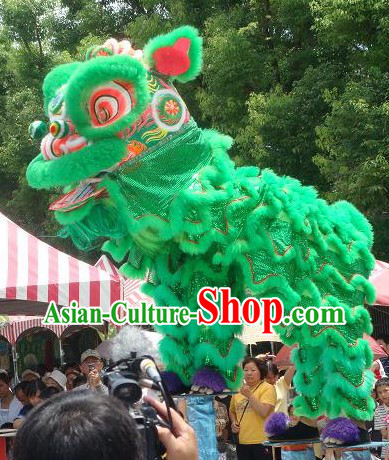 Friendly Green Hok San Lion Dance Costumes Complete Set