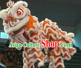 Traditional White and Orange Lion Dance Costume Complete Set