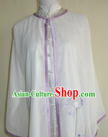 Traditional Chinese Competition and Practice Blouse Pants and Embroidered Lotus Veil