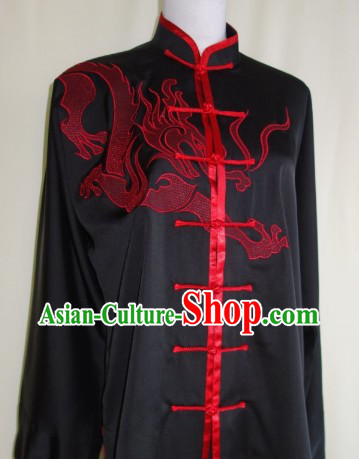 Silk Black Dragon Blouse Pants and Belt with Red Dragon Embroidery