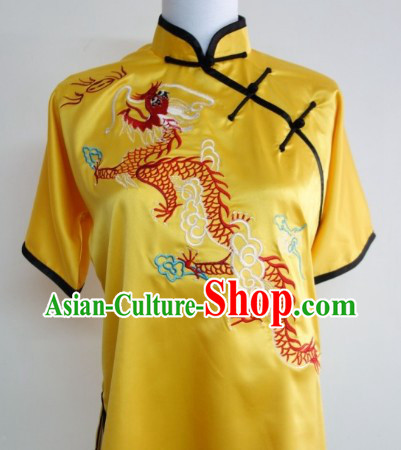 Top Chinese Traditional Dragon Silk Kung Fu Uniform Supplies for Primary Kung Fu School Students