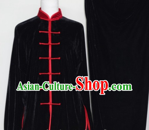 Black Winter Pleuche Tai Chi Uniform Male Female Kung Fu