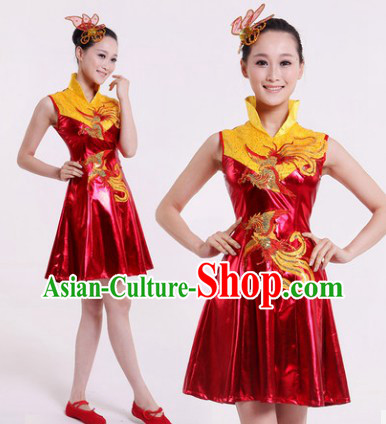 High Collar Chinese Festival Parade Phoenix Dance Costumes Complete Set for Women