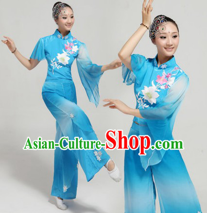 Blue Chinese Group Fan Dance Costumes and Headwear Complete Set for Women