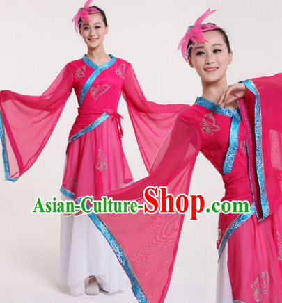 Butterfly Chinese Classical Gu Dian Hanfu Dance Costumes and Hairdress