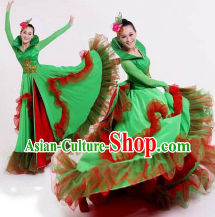 Green Opening Dance Group Dance Costumes and Headwear Complete Set for Women