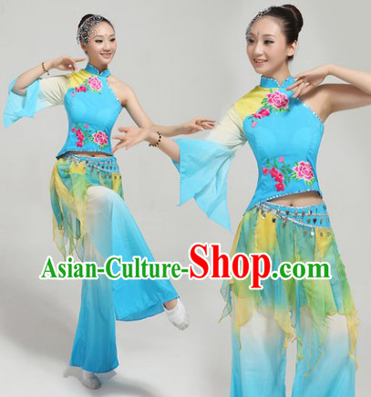Blue Fan Dance Group Dance Singing Group Performance Costumes and Headwear Complete Set for Women