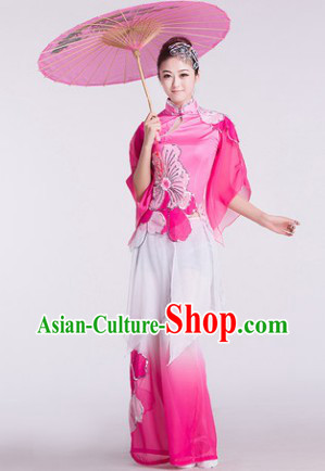 Pink Chinese Umbrella Dance Costumes and Hair Accessories for Women