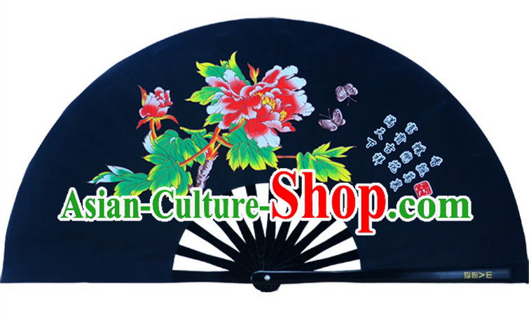 Black Traditional Kung Fu Double Fans Peony Pattern for Right and Left Hands