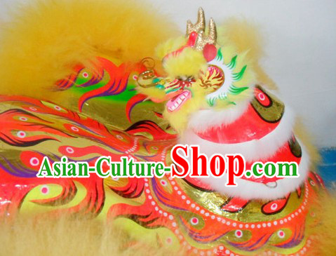 Supreme Dragon Horn Lion Dance Costumes Complete Set with Yellow Long Wool