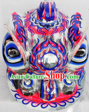 Chinese Lion Dance Costumes Complete Set with Blue Long Wool