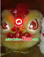 LED Lights Circle Maize-yellow Wool Lion Dance Costumes Full Set