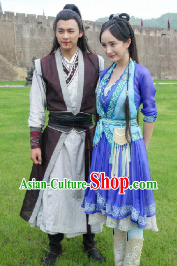 Ancient Chinese Swordsman Costumes and Swordswoman Costumes 2 Sets
