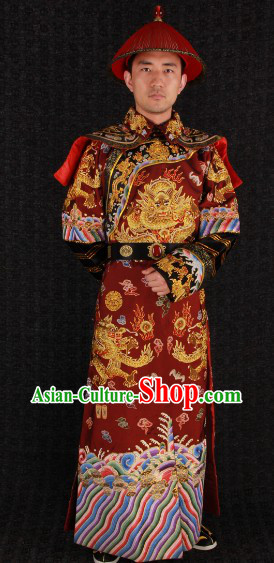 Qing Dynasty Prince Embroidered Dragon Clothes and Hat Complet Set for Men