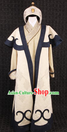 Ancient Chinese Film Costumes Mongolian King Khan Clothes and Hat Complete Set for Men