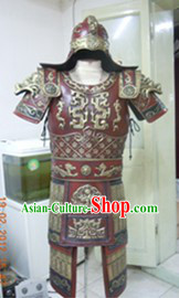 Ancient Chinese Military Armor Costume and Helmet Complete Set for Adults